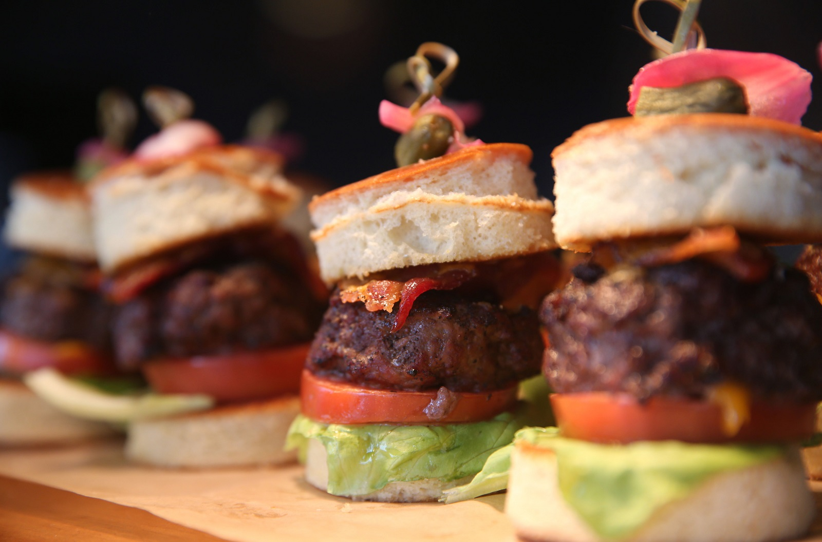 The sample-sized version of the WD Burger, built with Yancey's Fancy cheddar cheese, bacon, lettuce and tomato.  (Sharon Cantillon/Buffalo News)