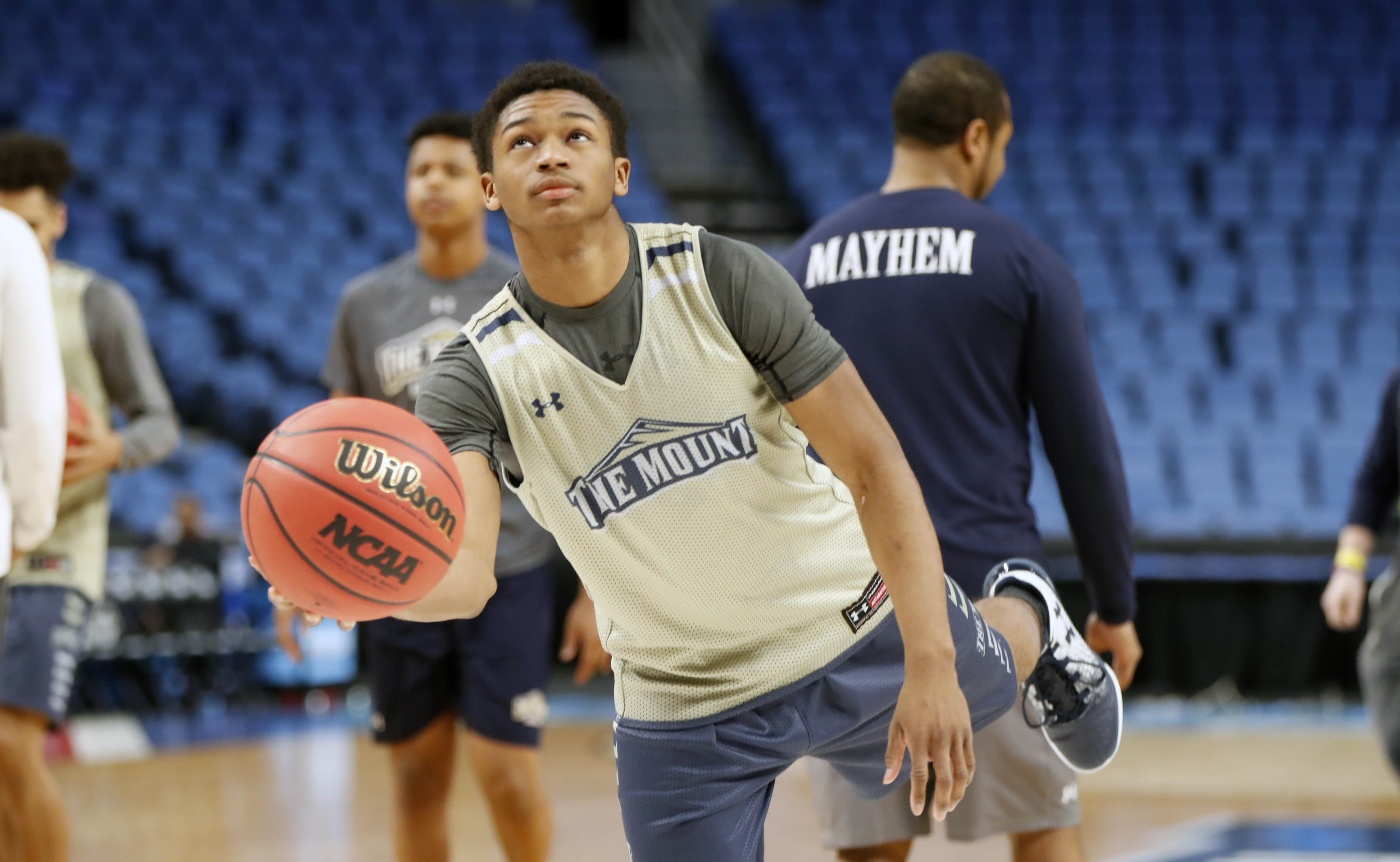 Junior Robinson has put himself in the national spotlight after his performance for Mount St. Mary's in a First Four victory Tuesday. (Harry Scull Jr./Buffalo News)