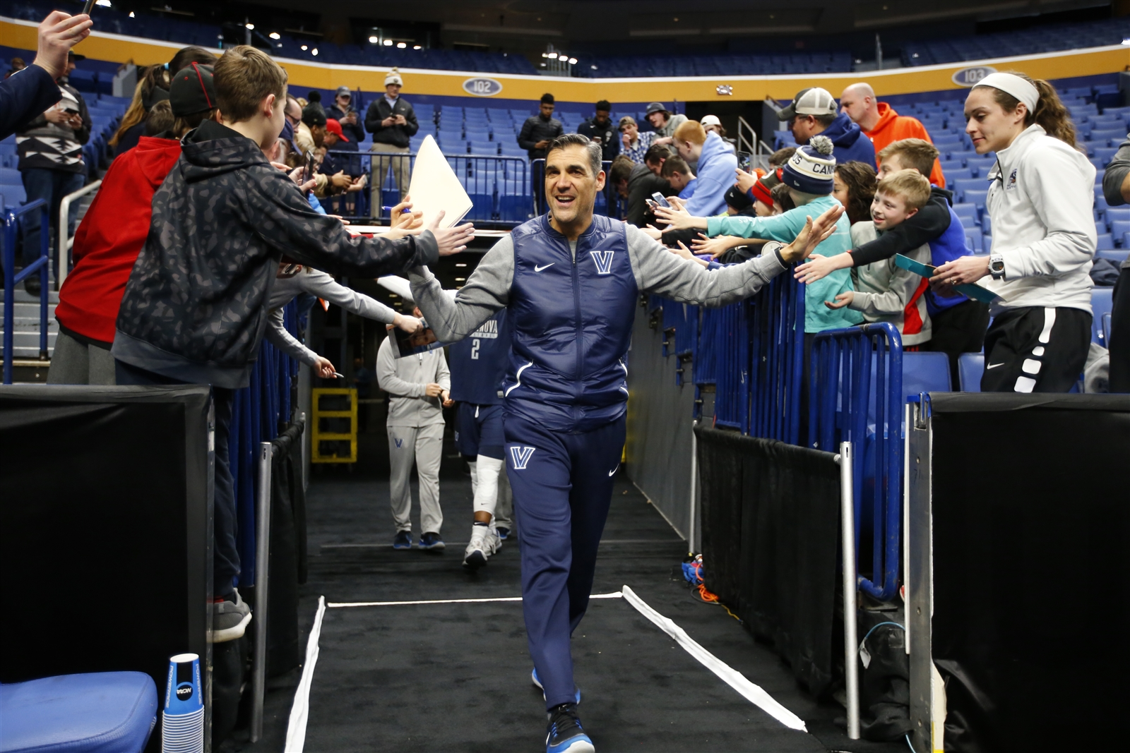 Jay Wright heads to the KeyBank Center court for practice with his Villanova Wildcats. (Harry Scull Jr./Buffalo News)