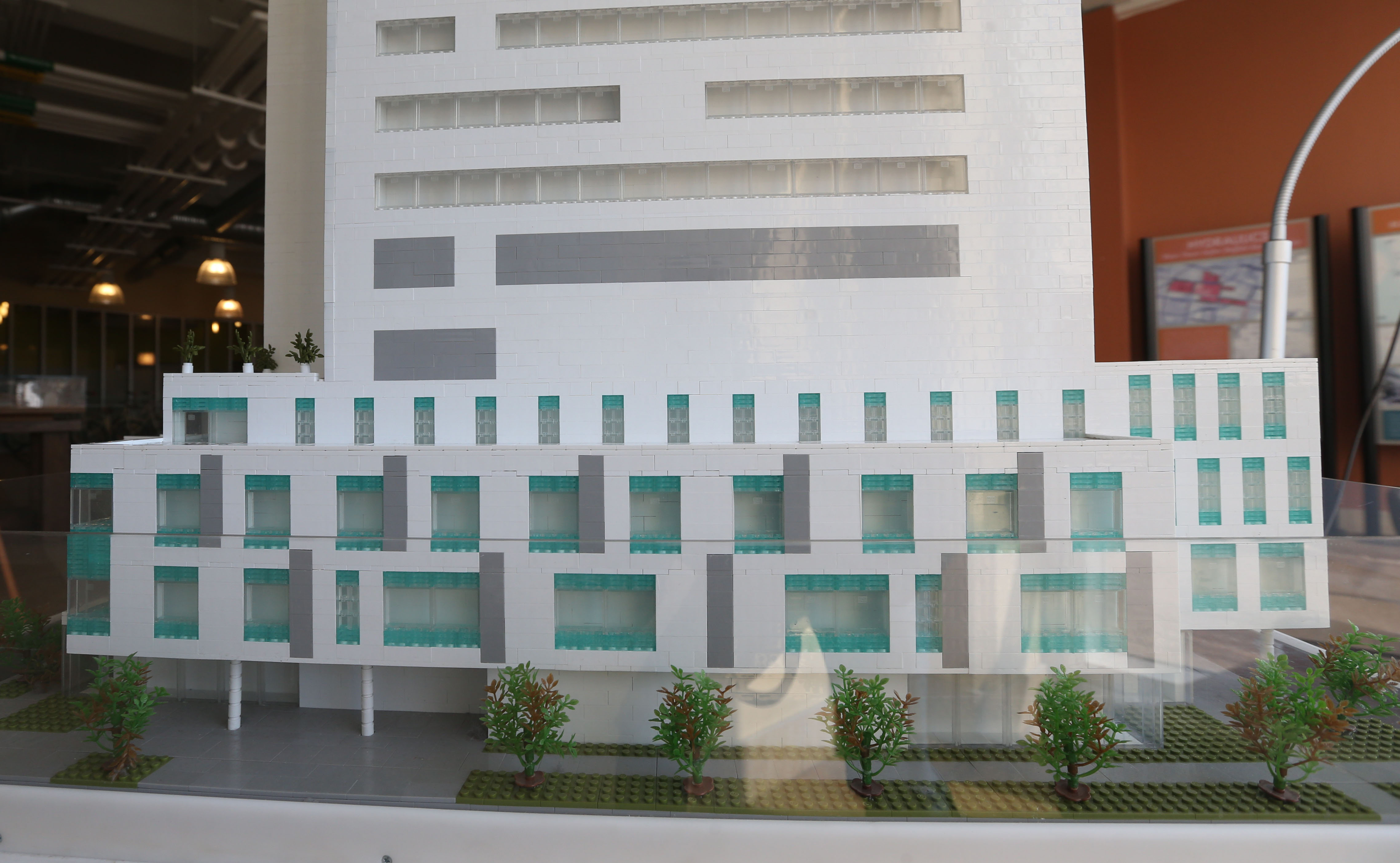 Employees from Fisher-Price East Aurora and MEGA Brands Montreal offices donated time to create a replica of the New John R. Oishei Children's Hospital in anticipation of the fall 2017 opening.  The model on display at the Larking Building on Exchange St. is made of 41,250 Mega Bloks. (Sharon Cantillon/Buffalo News)