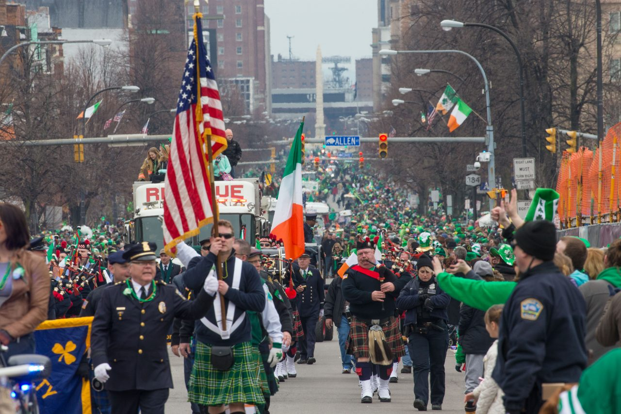 Revelers celebrate St. Patrick's Day at the parade on Delaware Avenue, Sunday, March 19, 2017.  If you can't make it this year, tune in to Spectrum News. (Derek Gee/Buffalo News)
