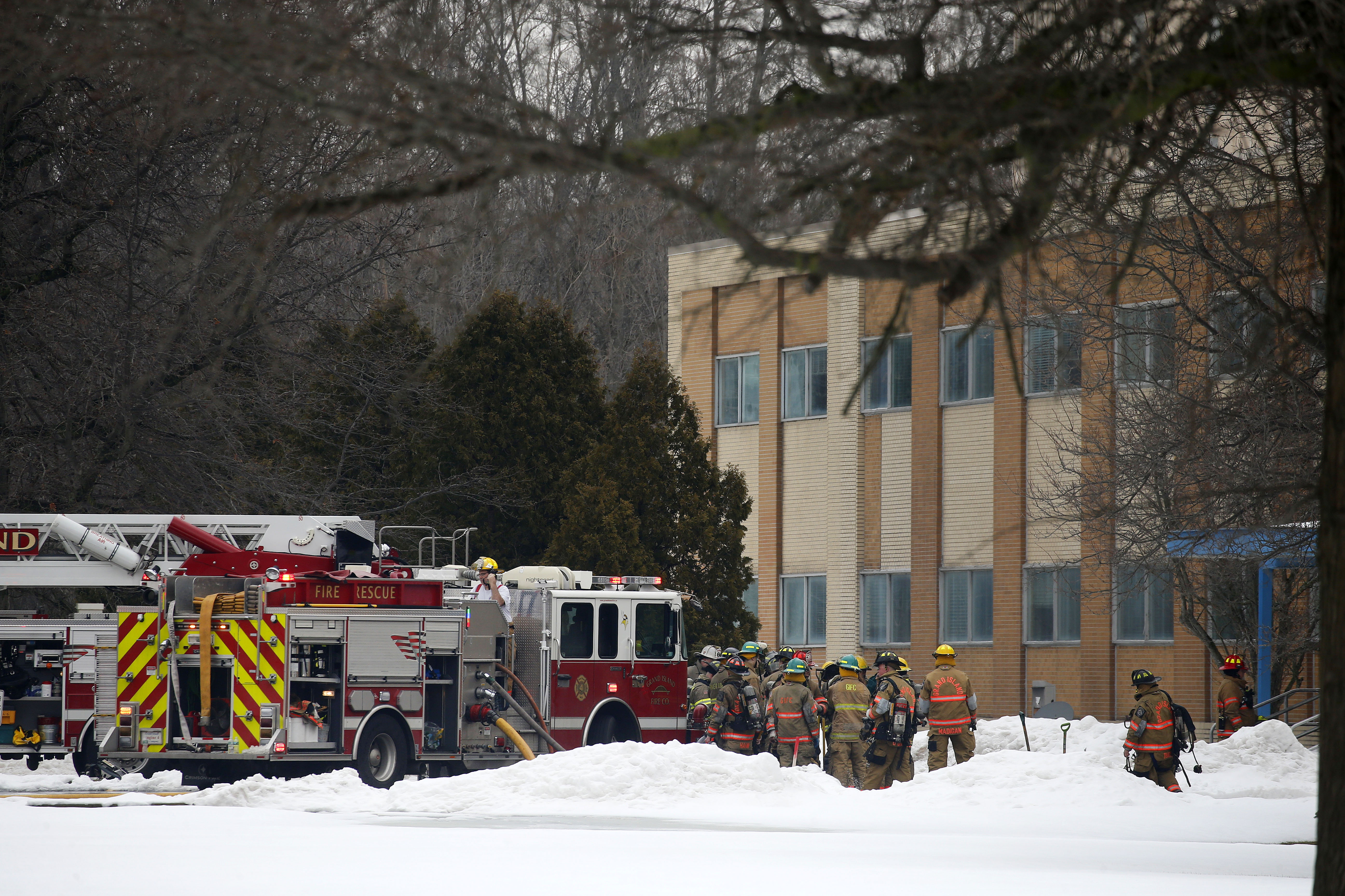 Fire crews work on a fire at IsleChem on Grand Island Saturday, March 18, 2017.       (Mark Mulville/Buffalo News)