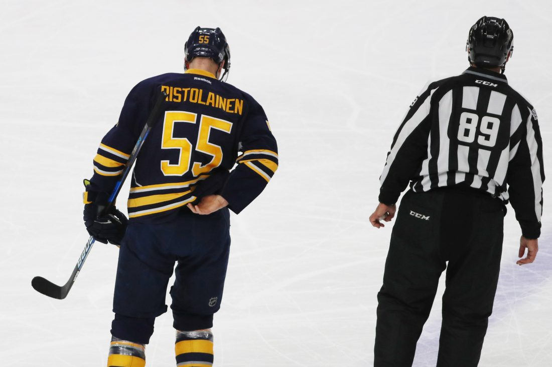 Rasmus Ristolainen won't return to a game for the Sabres until April 2. (James P. McCoy/Buffalo News)