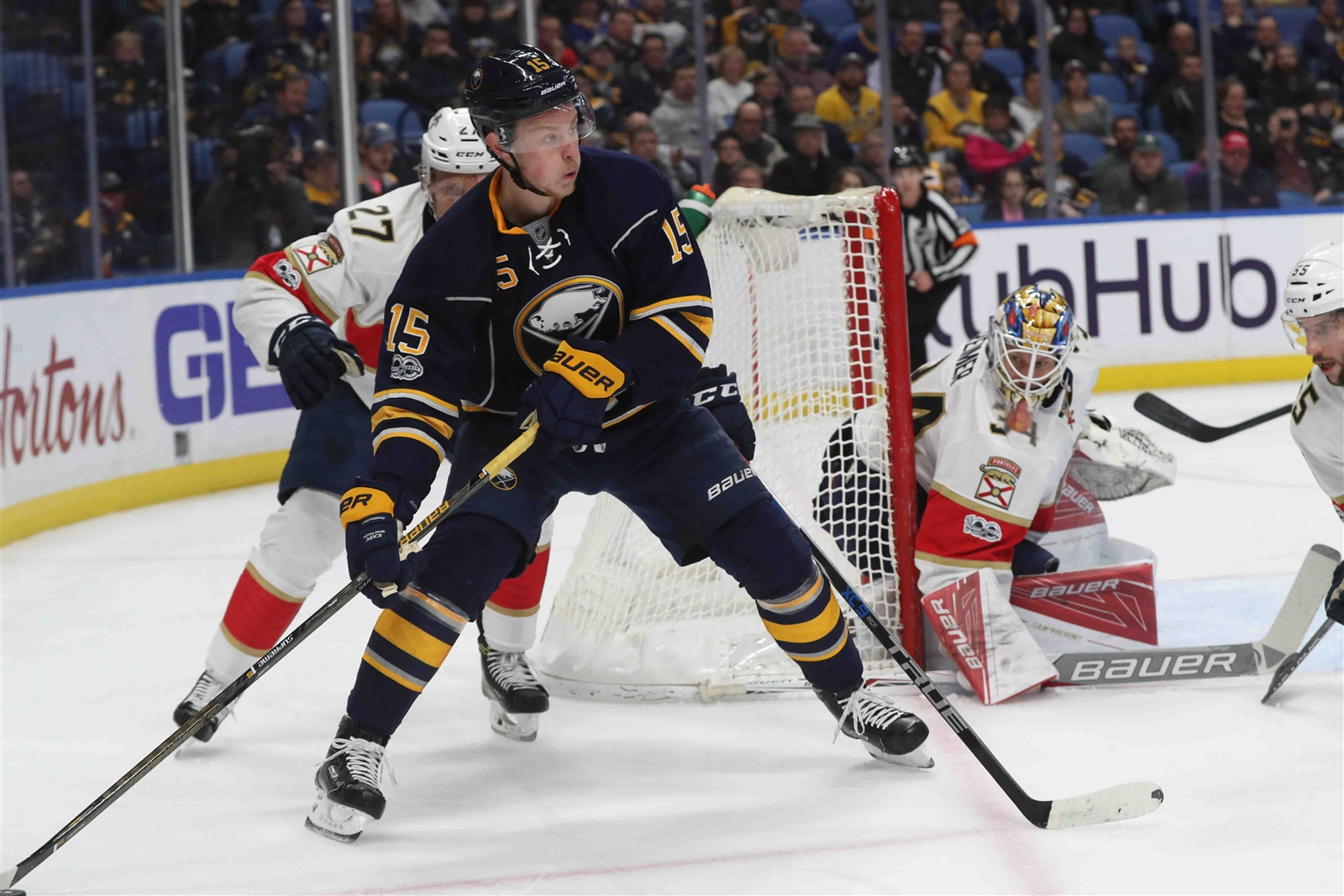 Jack Eichel is not only holding the puck, he's dangerous with it. (James P. McCoy/Buffalo News)