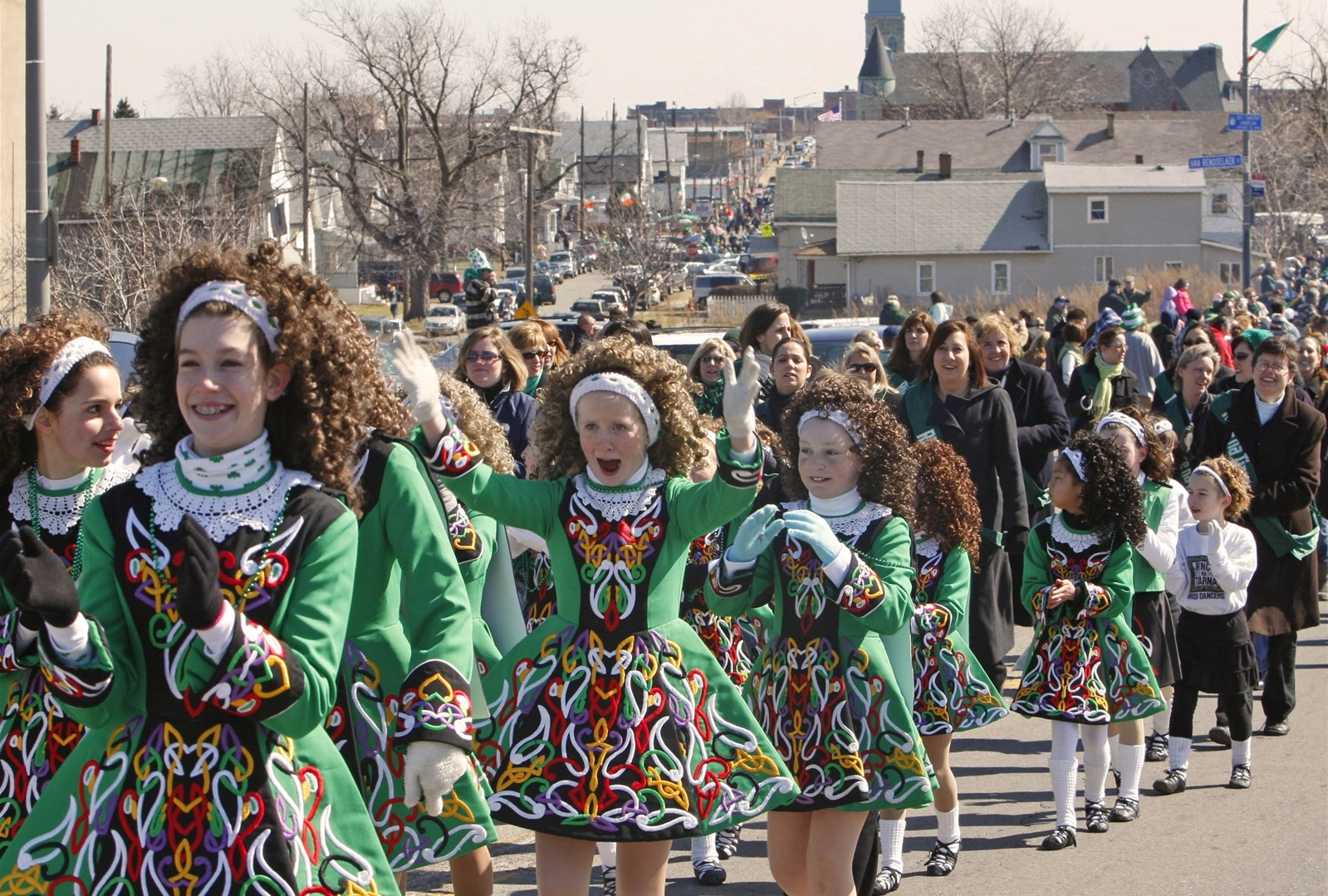 A scene at the Old Neighborhood St. Patrick's Day Parade in 2009, as Rince na Tiarna Irish dancers take part in the parade. (Derek Gee/Buffalo News file photo)