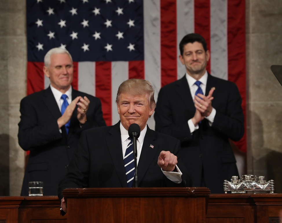 President Trump, with Vice President Mike Pence and House Speaker Paul Ryan behind him, makes his address to Congress Tuesday. (Getty Images)