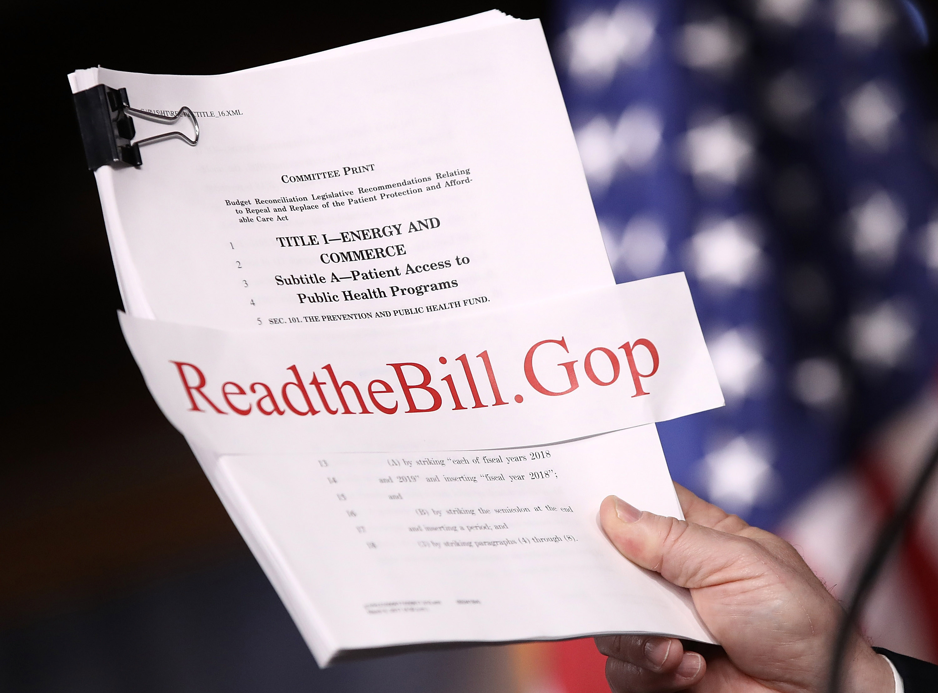 House Energy and Commerce Chairman Greg Walden (R-OR) holds a copy of the newly written American Health Care Act during a press conference at the U.S. Capitol March 7, 2017 in Washington, D.C.  (Getty Images)