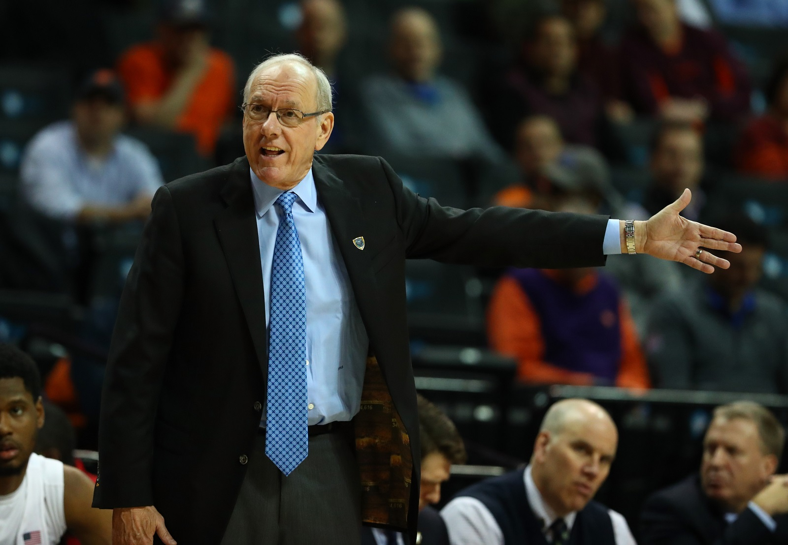 Head coach Jim Boeheim of the Syracuse Orange will be watching the NCAA tournament this year and not playing in it. (Al Bello/Getty Images)