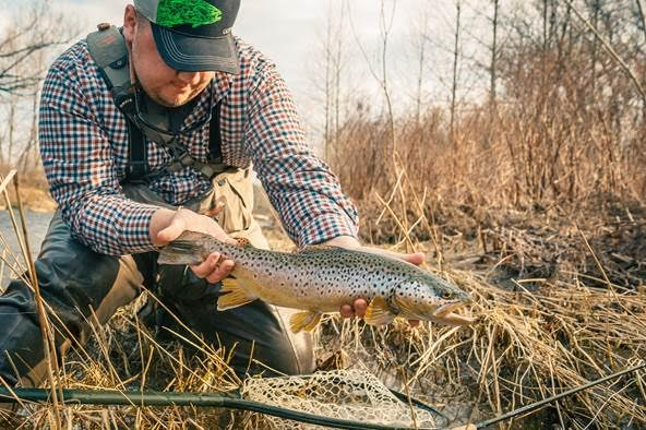 Adam Slavinski of Buffalo used a Purple Just Add Water Sz16 fly to trick this nice brown trout into hitting while on the Upper Catt near Yorkshire.
