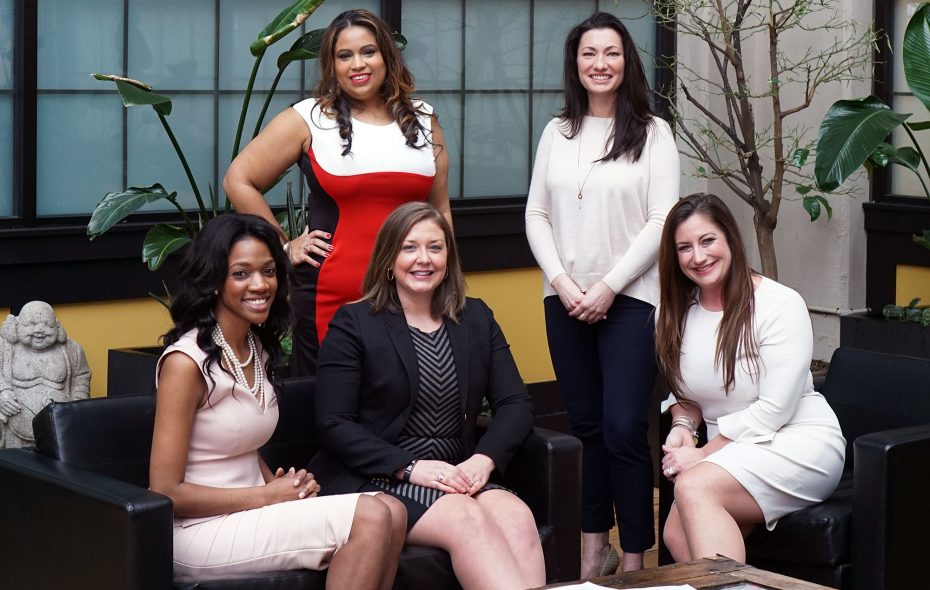 ATHENA Young Professional Leadership Award finalists from left (seated): Melodie Baker, Sarah Cotter and Christina Pearl. From left (standing): Tayrin Tapia and Nicole Savage. (Dave Jarosz)