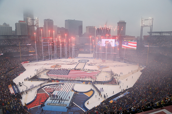 Busch Stadium in St. Louis hosted this year's Winter Classic between the Blues and Chicago Blackhawks (Getty Images).