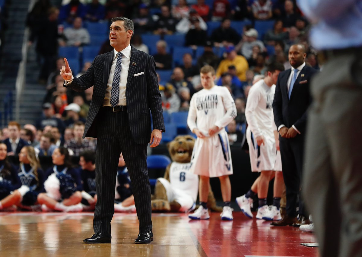 Villanova coach Jay Wright sends in a signal to his team during Thursday night's win over Mount St. Mary's. (Harry Scull Jr./Buffalo News)