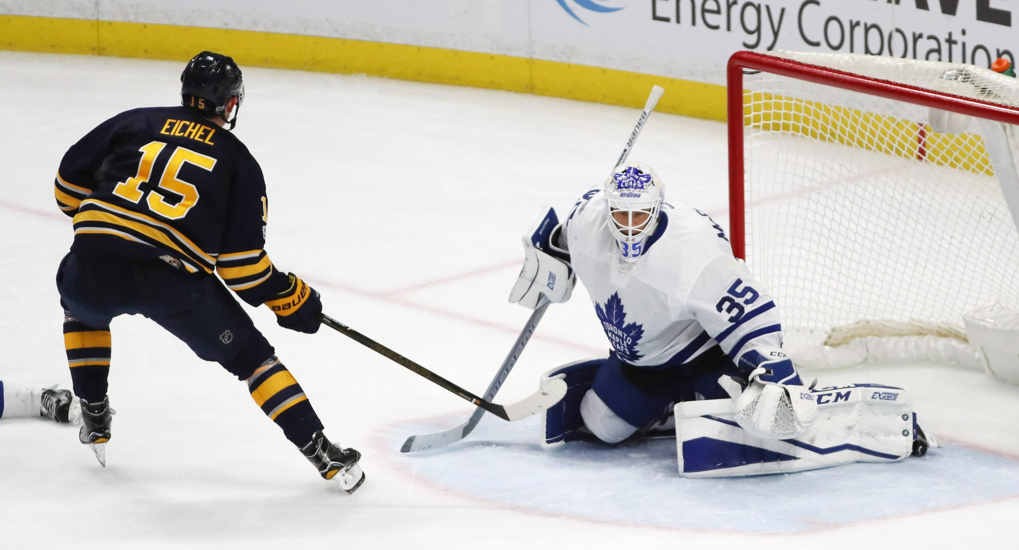 Jack Eichel had a two-goal, three-point night against Curtis McElhinney and Toronto. (James P. McCoy/Buffalo News)