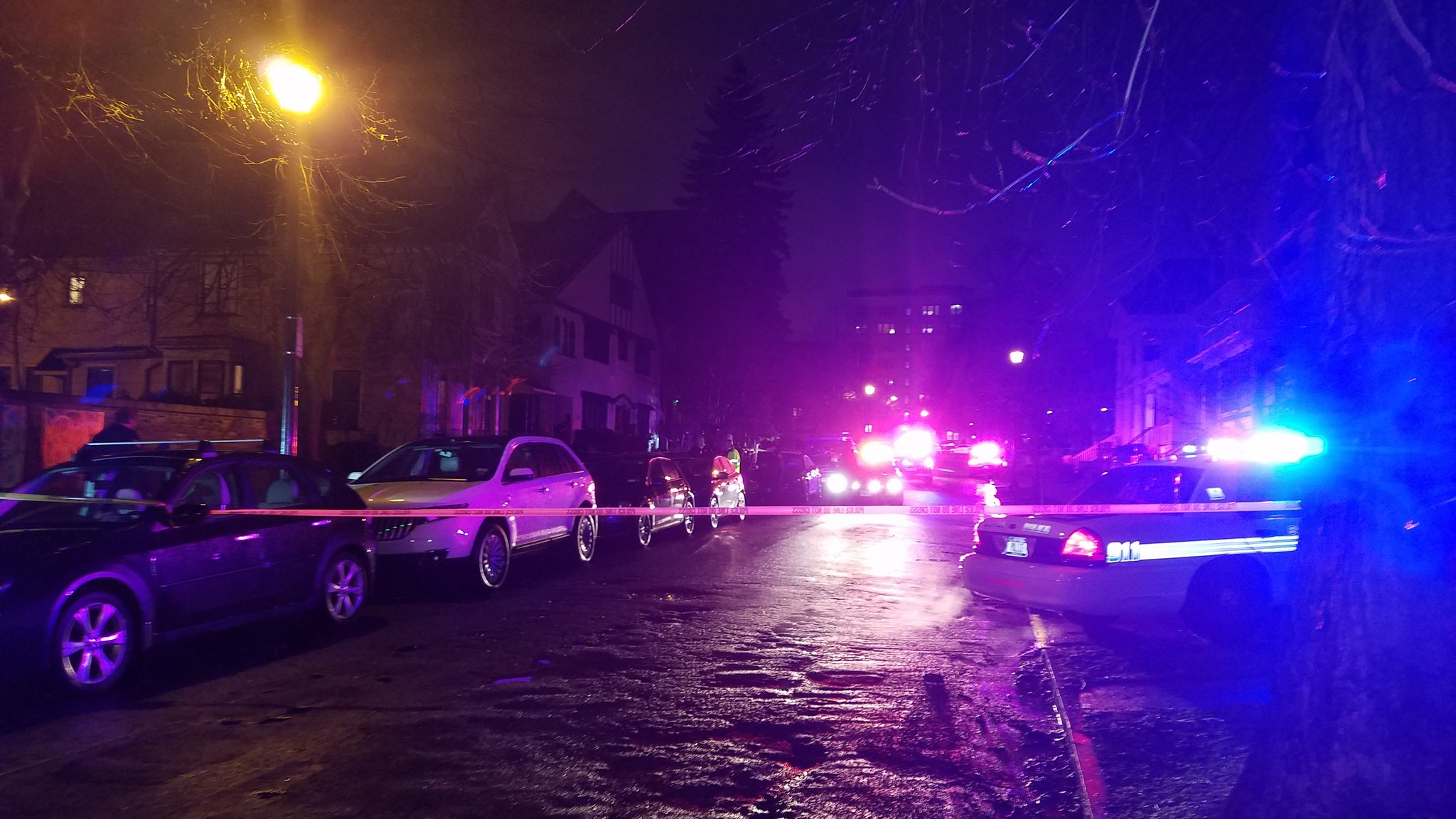 The scene of a double shooting on Park Street in Buffalo. (Harold McNeil/Buffalo News)