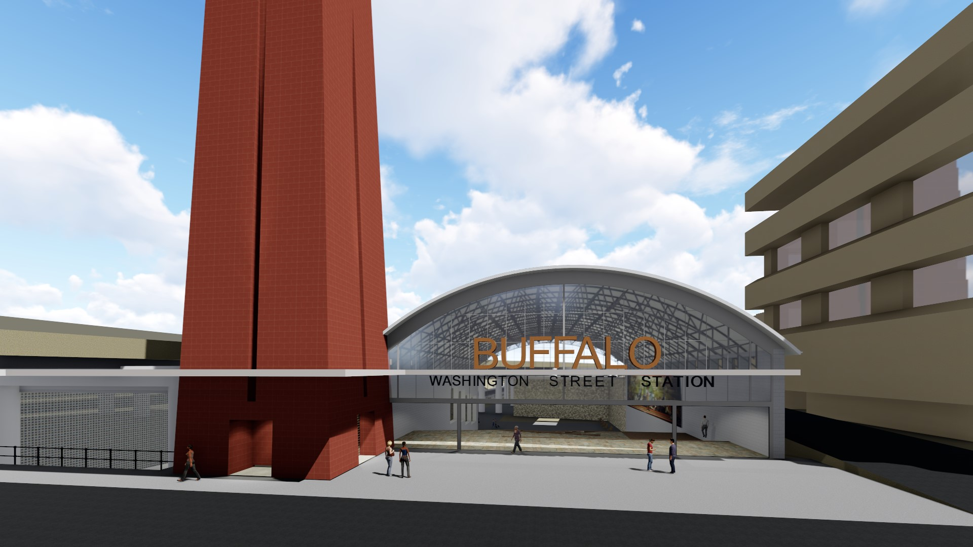 A rendering by Tim Tielman, of the Campaign for Greater Buffalo, of a proposed downtown train station.