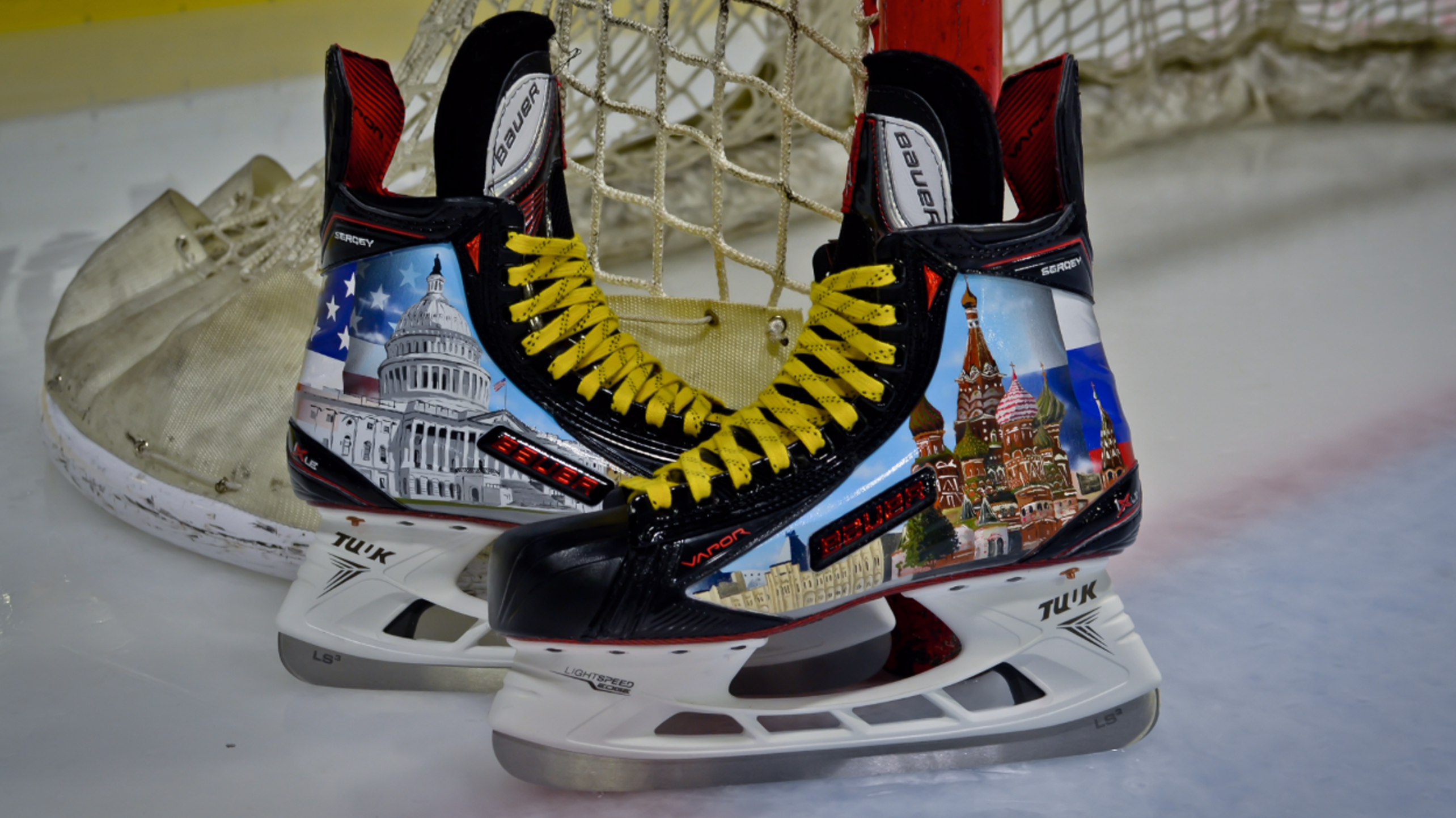 Alex Ovechkin will wear these Russia-America skates in warmup Thursday before they're auctioned for charity (Washington Capitals photo).
