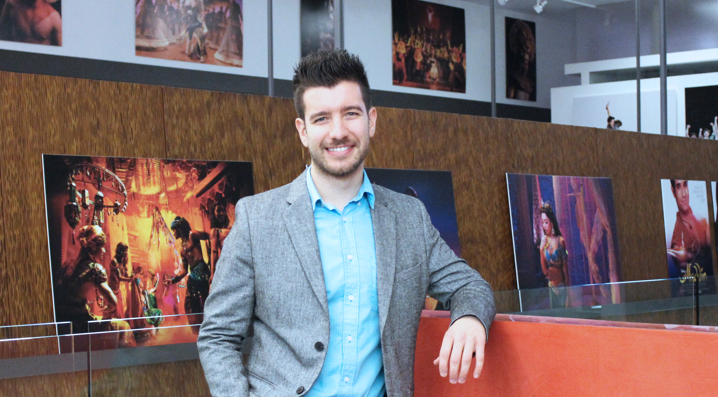 Chad at the New Amsterdam Theatre, where he designs promotional materials for Disney Theatrical Group.