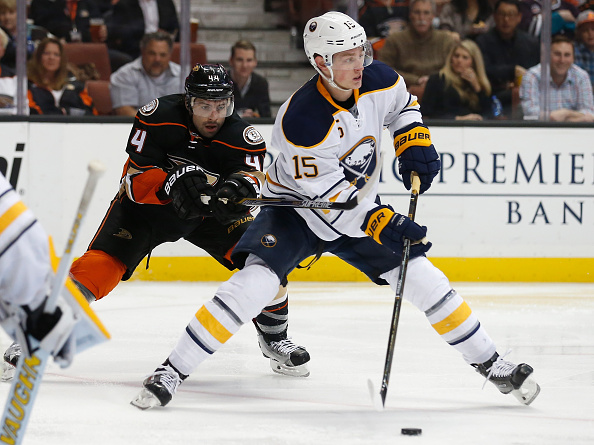Jack Eichel battles with Anaheim's Nate Thompson during the Sabres' 1-0 loss to the Ducks on Feb. 24, 2016 in Honda Center (Getty Images).