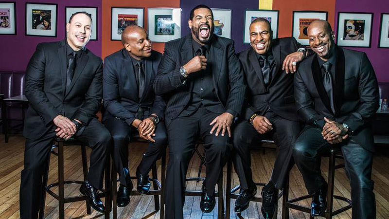 The New York Kings Comedy Tour includes Mark Viera (from left), Drew Fraser, Talent Harris, Capone and Rob Stapleton. (Courtesy of Kholes Entertainment)