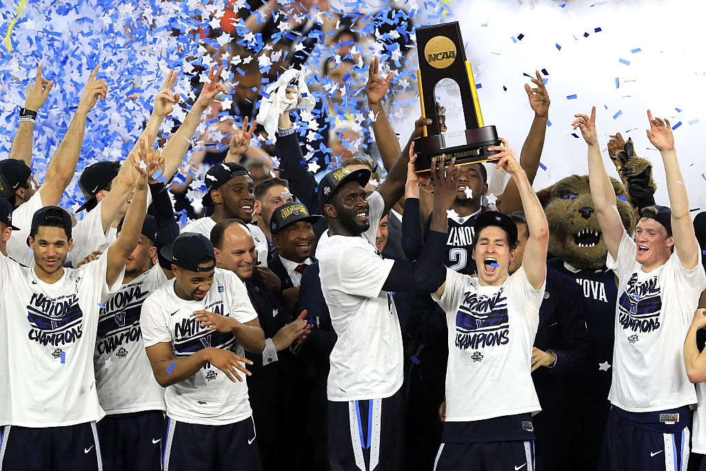 Villanova celebrates after defeating North Carolina in the 2016  National Championship at NRG Stadium in Houston.  (Photo by Scott Halleran/Getty Images)