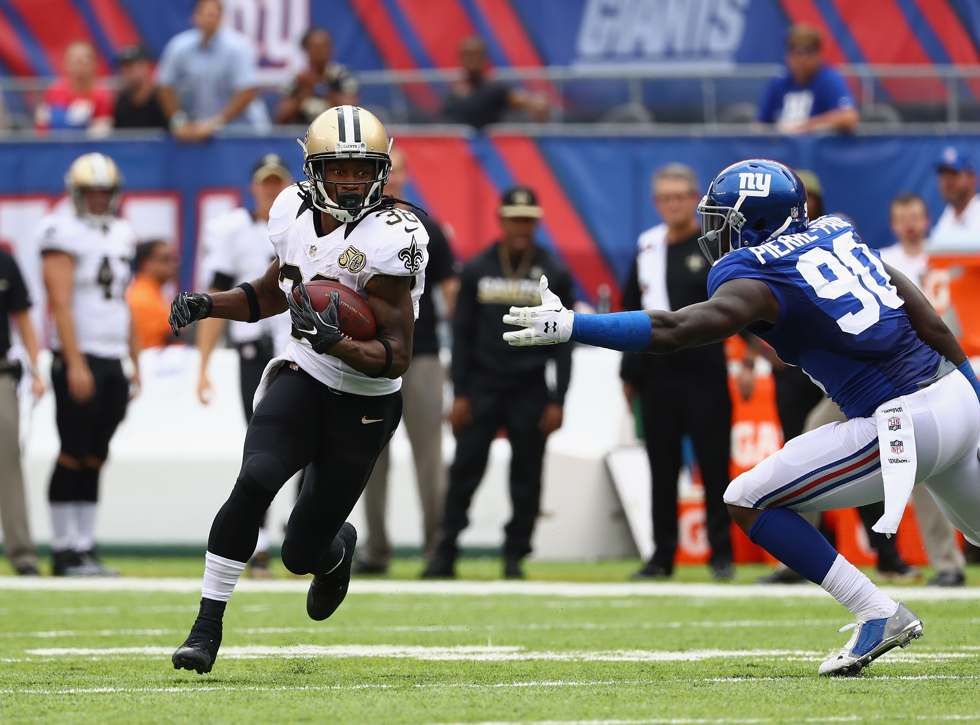 The Bills are among the teams reportedly interested in free-agent running back Travaris Cadet. (Photo by Al Bello/Getty Images)