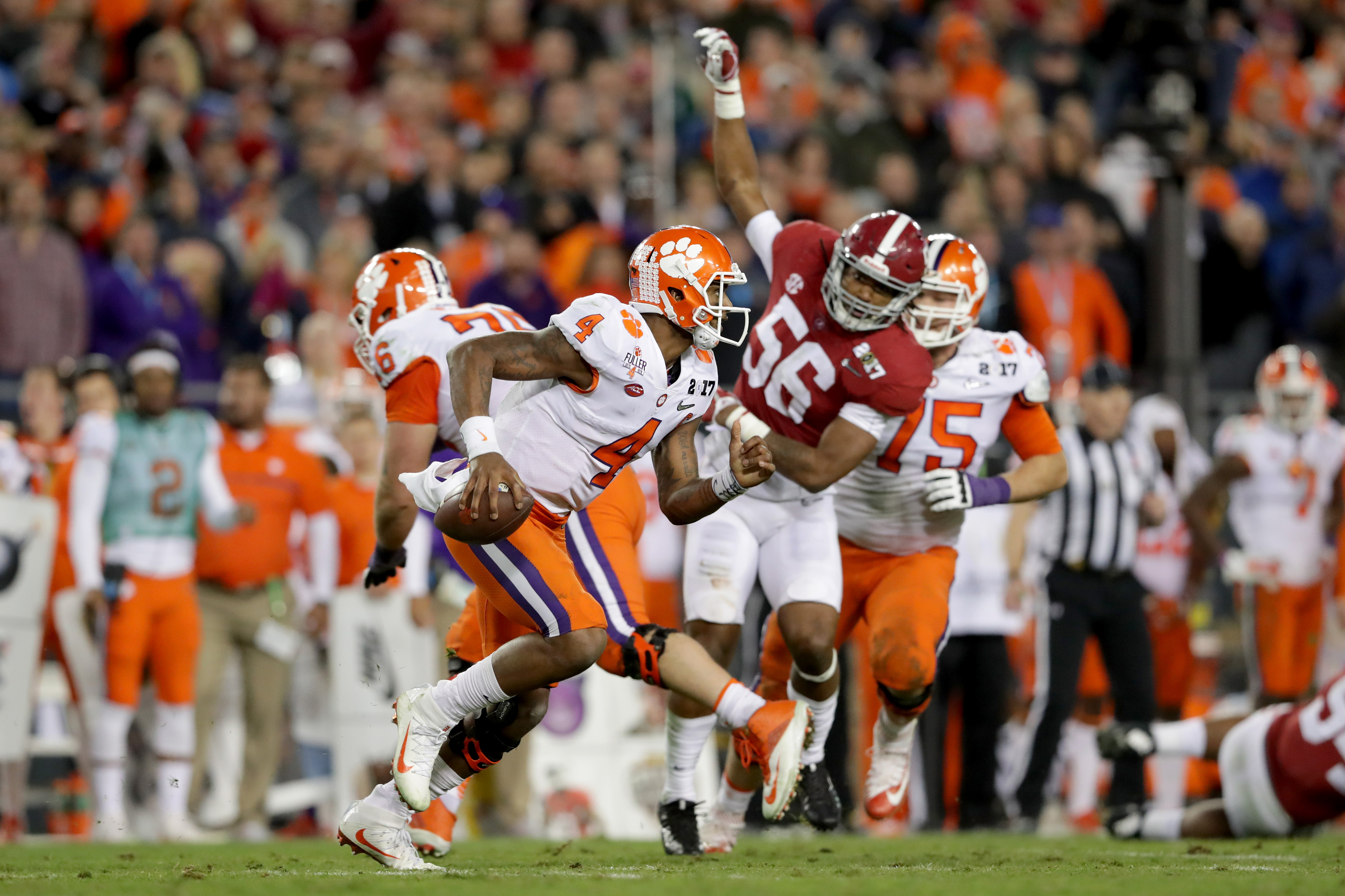 Quarterback Deshaun Watson #4 of the Clemson Tigers scrambles during the second half against the Alabama Crimson Tide in the 2017 College Football Playoff National Championship Game on Jan. 9. (Photo by Streeter Lecka/Getty Images)