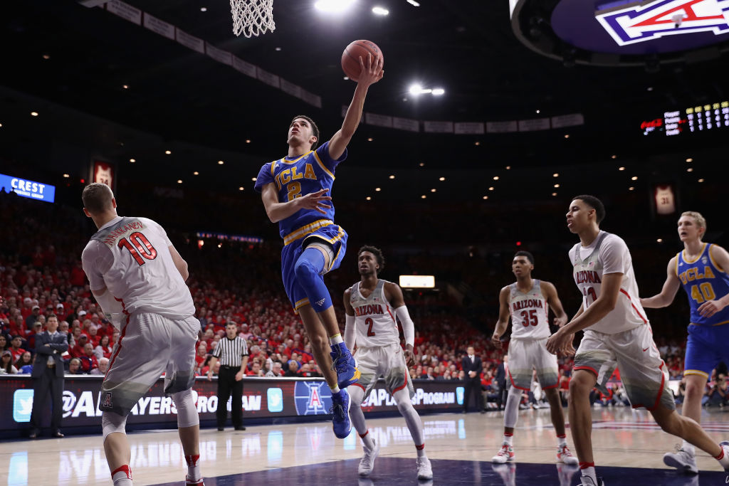 UCLA's Lonzo Ball goes to the hoop during the second half of the college basketball game at McKale Center on February 25, 2017 in Tucson, Arizona. The Bruins defeated the Wildcats 77-72. (Getty Images)