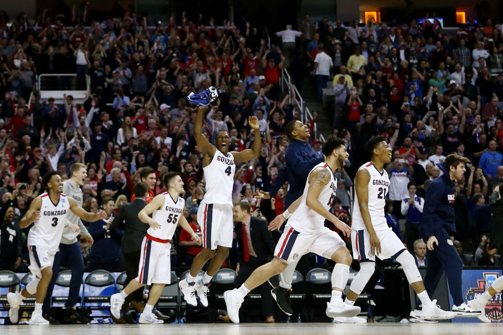 Gonzaga celebrates its win over Xavier during the 2017 NCAA Men's Basketball Tournament West Regional at SAP Center on March 25, 2017 in San Jose, California. (Getty Images)