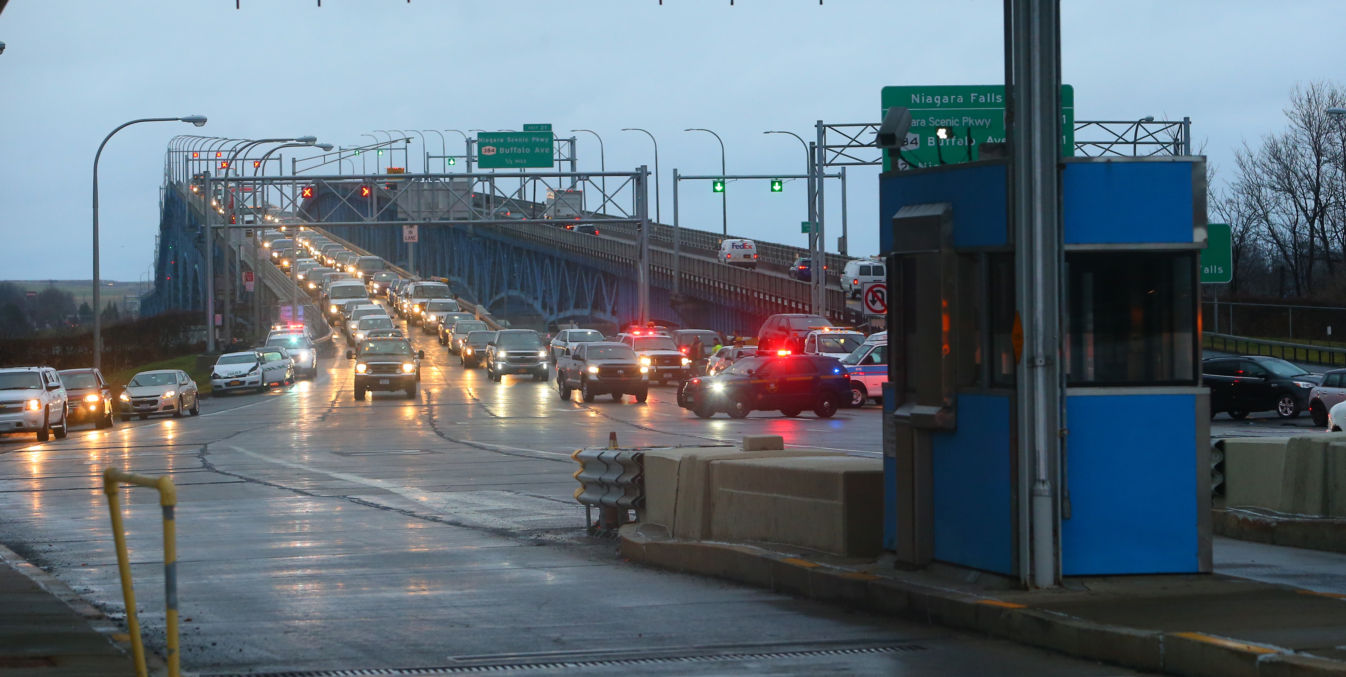 Cars back up on the northbound Grand Island bridge after a multi-vehicle accident at the toll plaza on  Wednesday, Jan. 4, 2017. (John Hickey/Buffalo News)