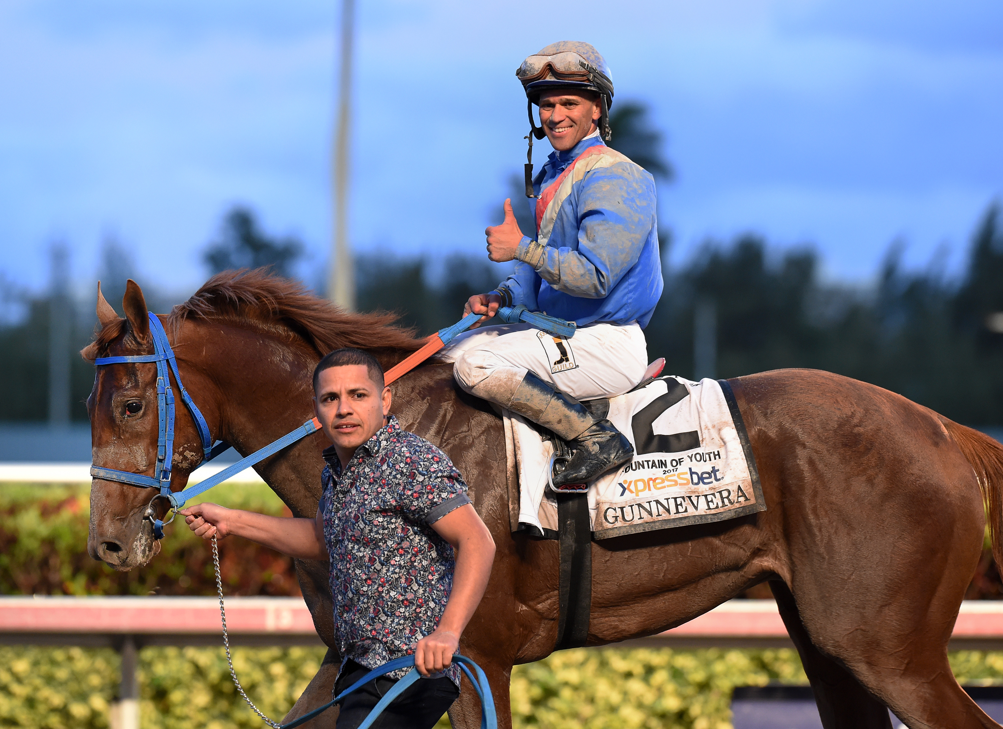 Gunnevera with Javier Castellano up after winning the Fountain of Youth at Gulfstream Park. Photo Credit: Lauren King