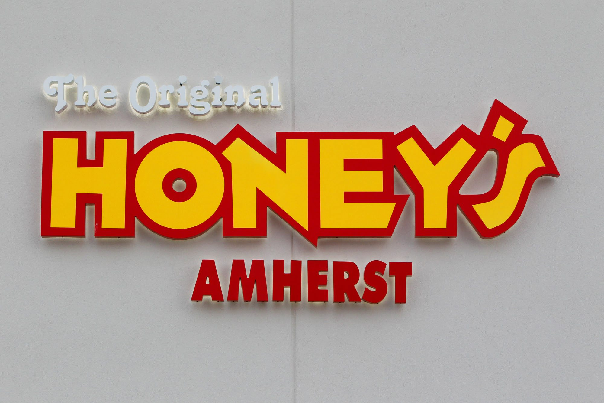 Sign that marked the Original Honey's Amherst restaurant at the Boulevard Mall, which closed in 2013 and was the subject of a lawsuit filed by the mall's owner.