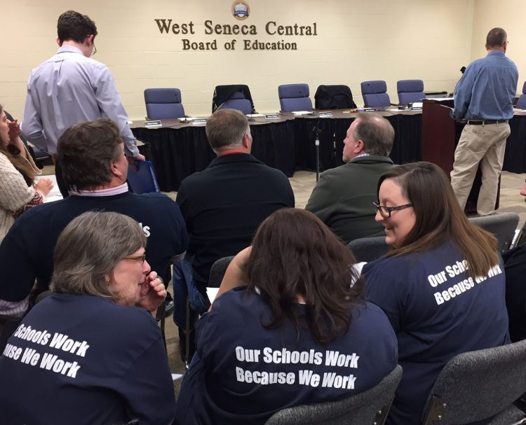 West Seneca School District union members and others wait for School Board to return from executive session. (Barbara O'Brien)