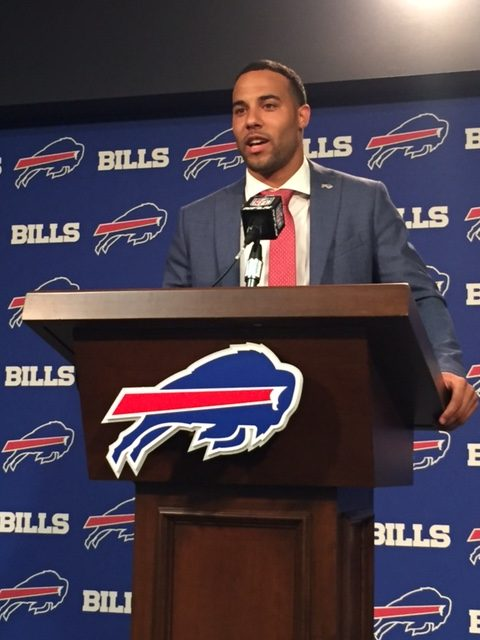 New Bills safety Micah Hyde meets with reporters (Vic Carucci/Buffalo News)