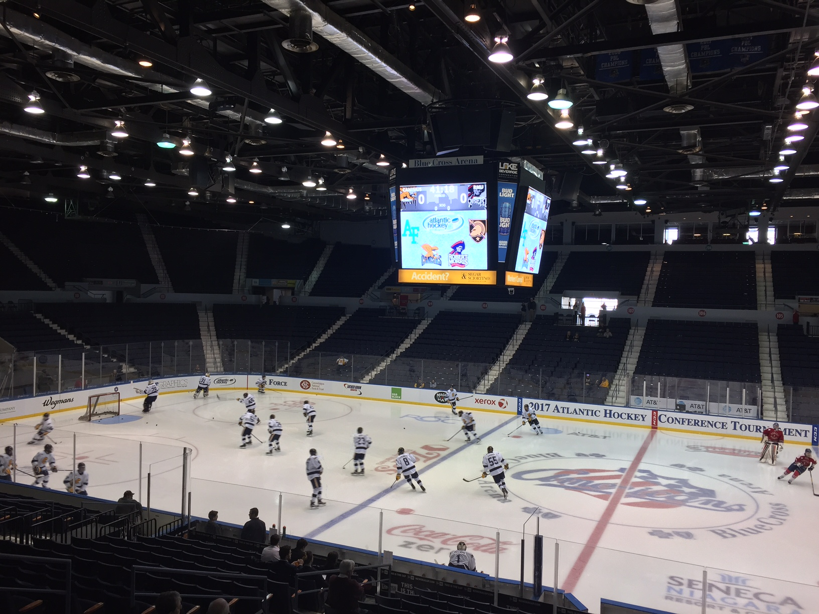 There were 200 fans in the 13,000-seat Blue Cross Arena for the semifinal between Canisius and Robert Morris.