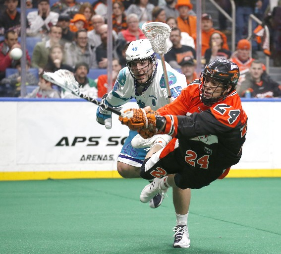 Mitch Jones, shown shooting here, had four points in the Bandits' win over Rochester Friday night.  (Robert Kirkham / Buffalo News)