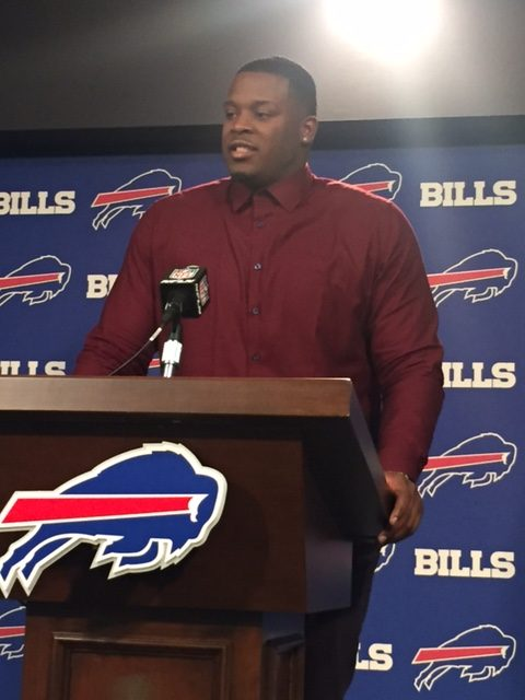 Jordan Mills meets with reporters after signing a new contract to remain with the Bills. (Vic Carucci/Buffalo News)
