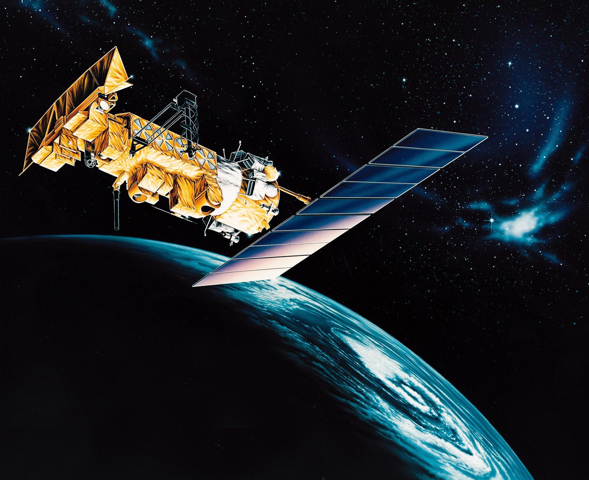 An artist's rendering of the NOAA-M spacecraft, a polar-orbiting Earth environmental observation satellite intended to provide global data to NOAA's short- and long-range weather forecasting systems. (NASA)