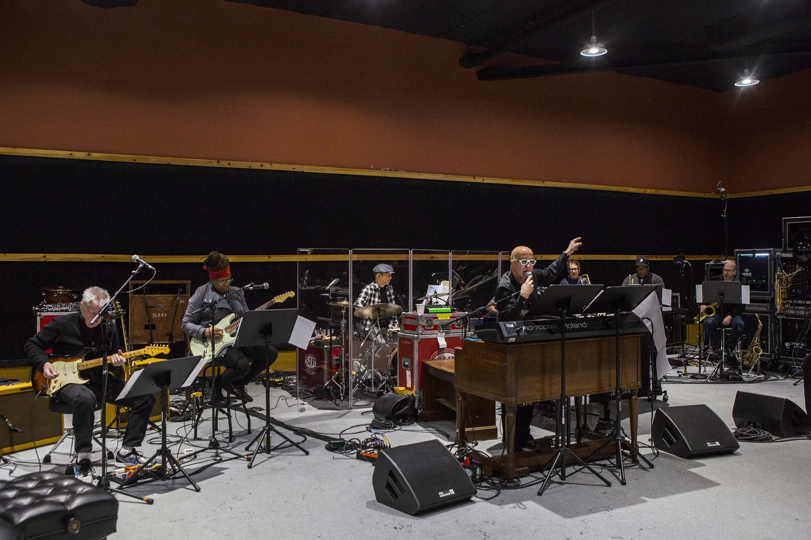 Paul Shaffer rehearses for a charity event with the World's Most Dangerous Band at SIR studios in New York earlier this year. (Hiroko Masuike/The New York Times)