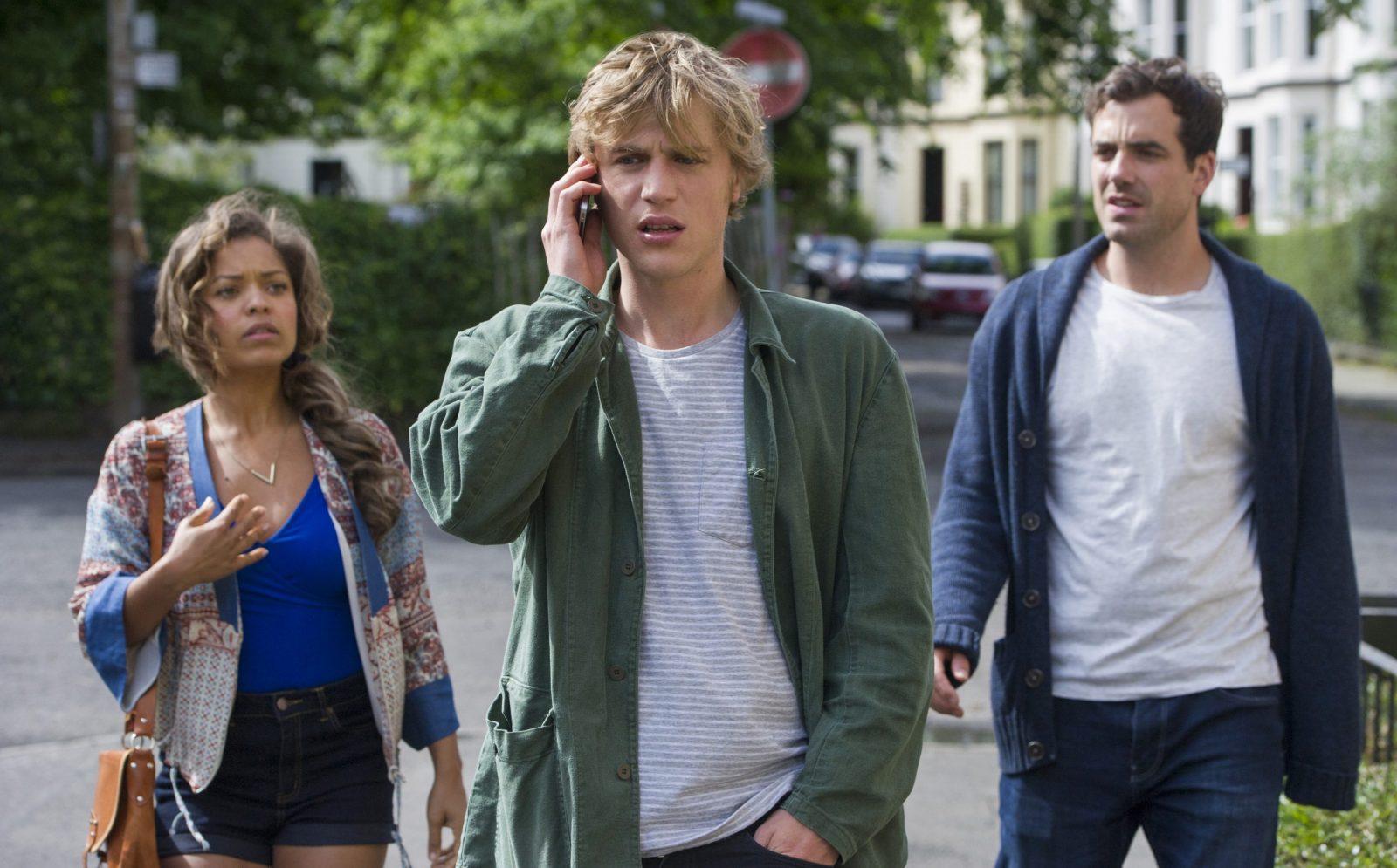 Antonia Thomas, left, Johnny Flynn and Daniel Ings star in 'Lovesick.'