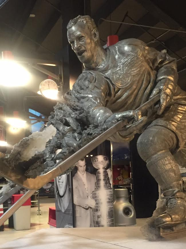 The Gordie Howe statue in the concourse at Joe Louis Arena (Mike Harrington/Buffalo News).