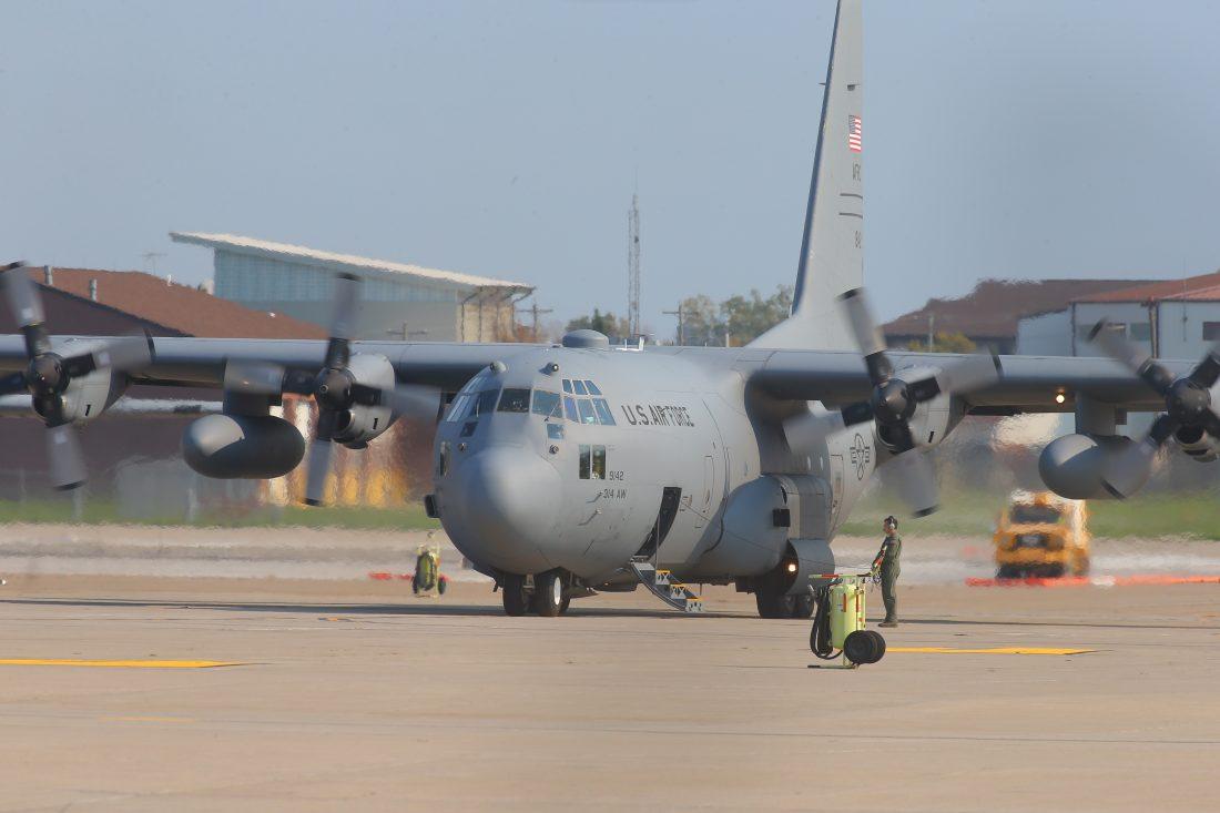 A Lockheed C-130 Hercules plane on the tarmac at the Niagara Falls Air Reserve Station , in Niagara Falls on Oct. 18, 2016. (John Hickey/Niagara Falls News)