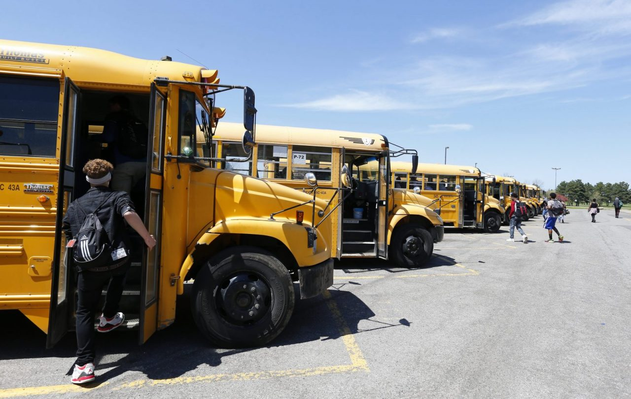 Niagara Falls High School students walk to their buses after dismissal.   (Mark Mulville/Buffalo News file photo)