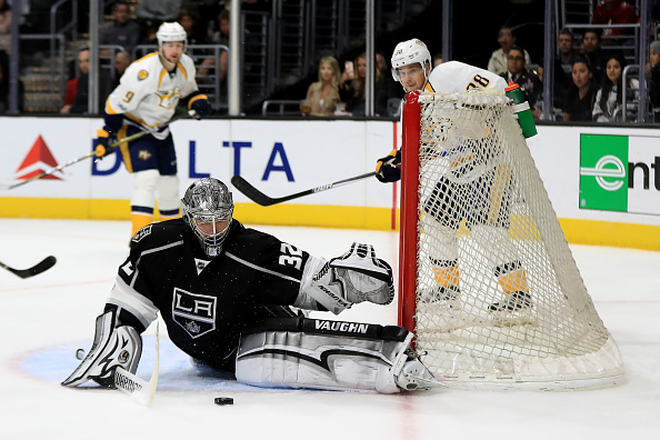 Two-time Stanley Cup champ Jonathan Quick plays just his eighth game of the season tonight against the Sabres (Getty Images).