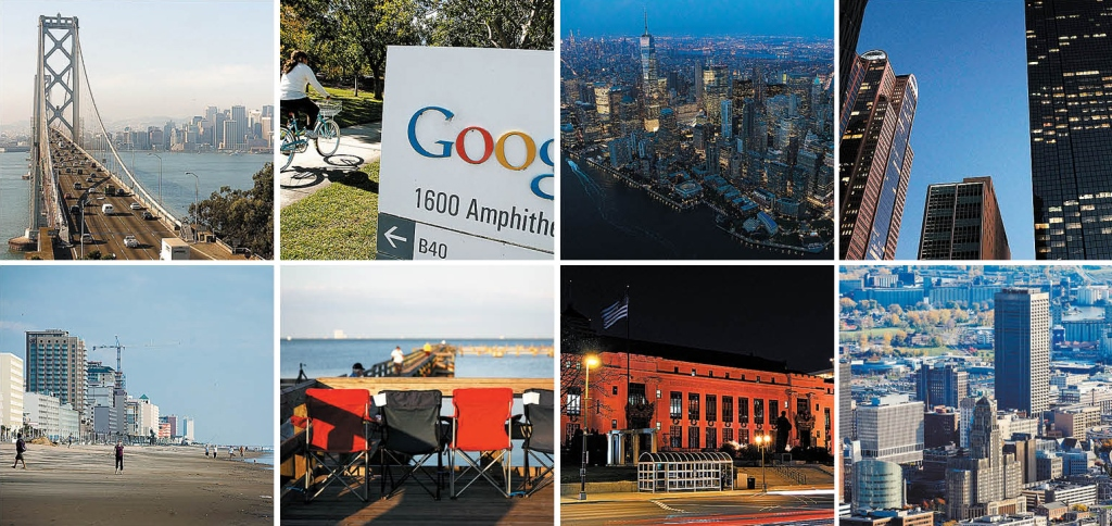 The Brookings Institution identifies the four fastest growing tech markets as the regions, shown at top, near San Francisco, San Jose, New York City and Dallas. Four shrinking markets include Virginia Beach, Titusville, Fla.; Columbus, Ohio; and Buffalo Niagara. (Getty Images and News file photo)