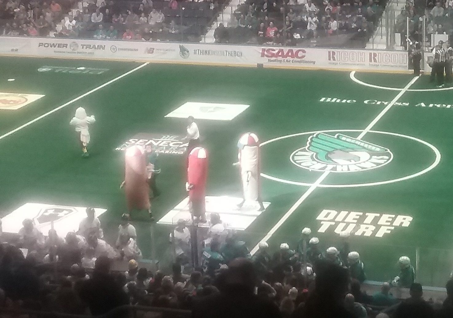The hot dogs raced around the field after the first quarter of the lacrosse game in Rochester.