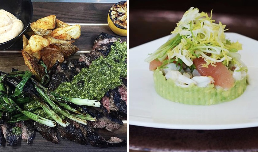 Skirt steak with chimichurri, left, and a salad of crab, avocado and grapefruit are on The Terrace's opening menu. (The Terrace)