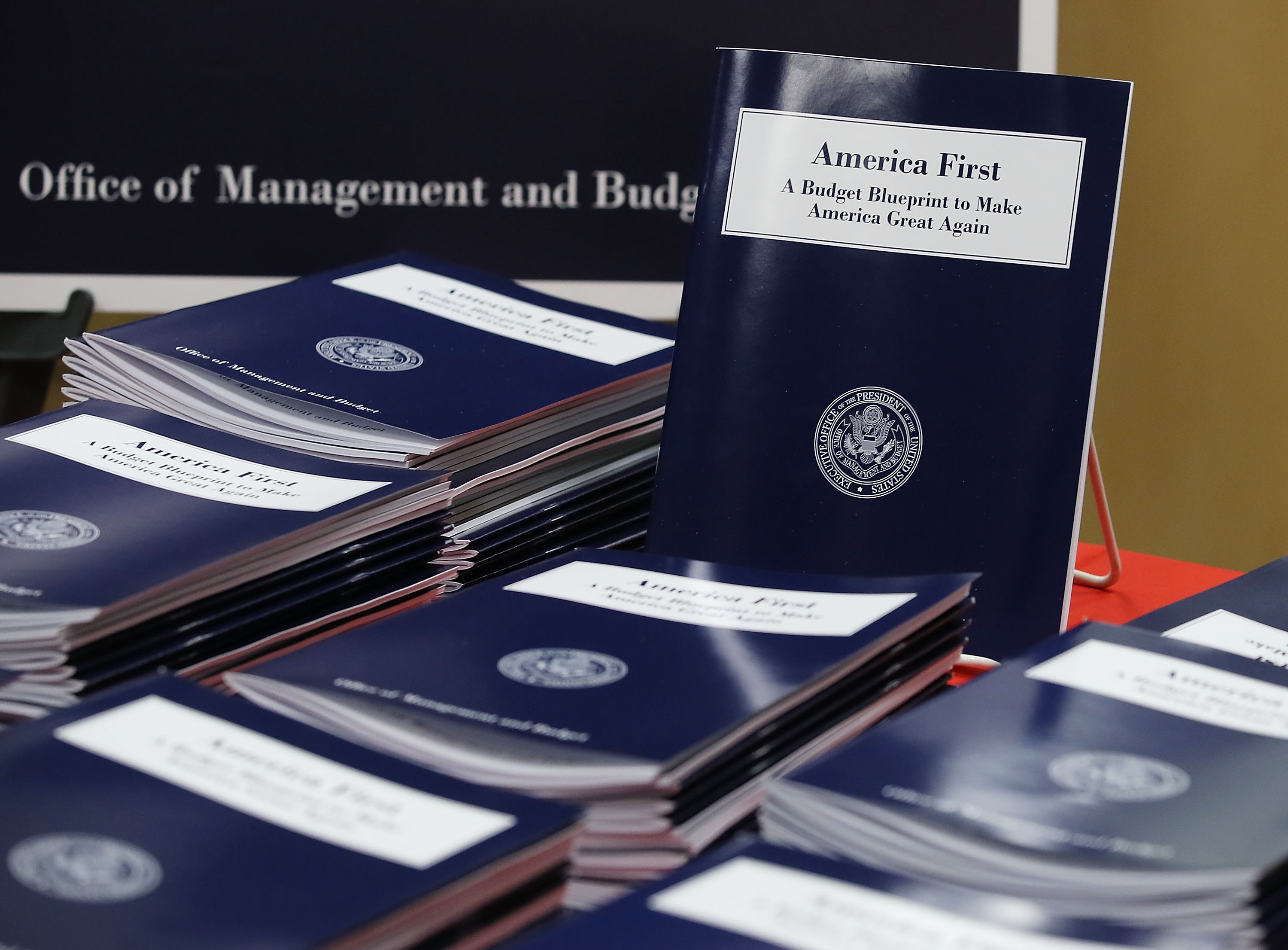 Copies of President Trump's overview of budget priorities. (Getty Images)