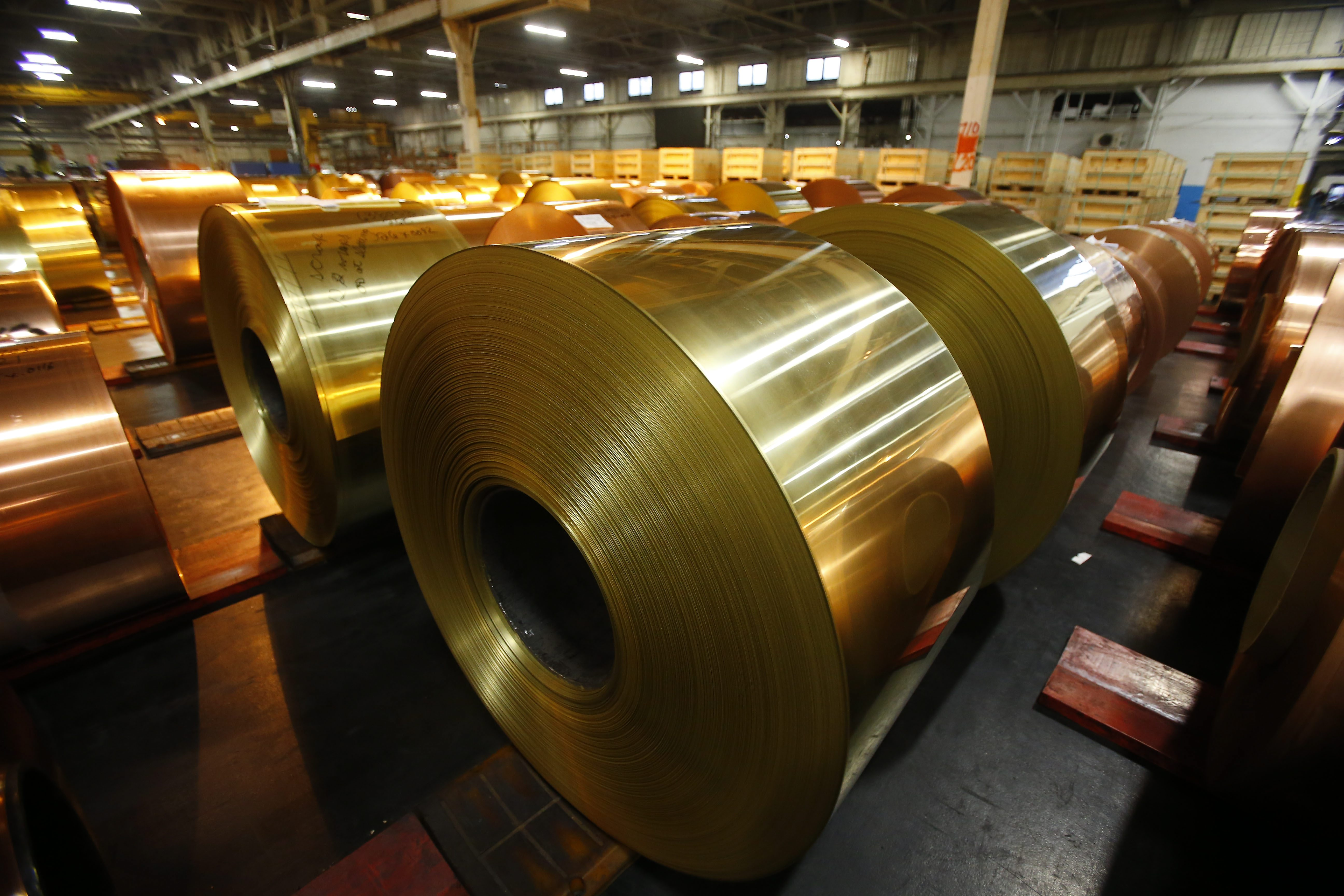 Some of the copper and brass rolls produced at Aurubis Buffalo  (Mark Mulville/Buffalo News)