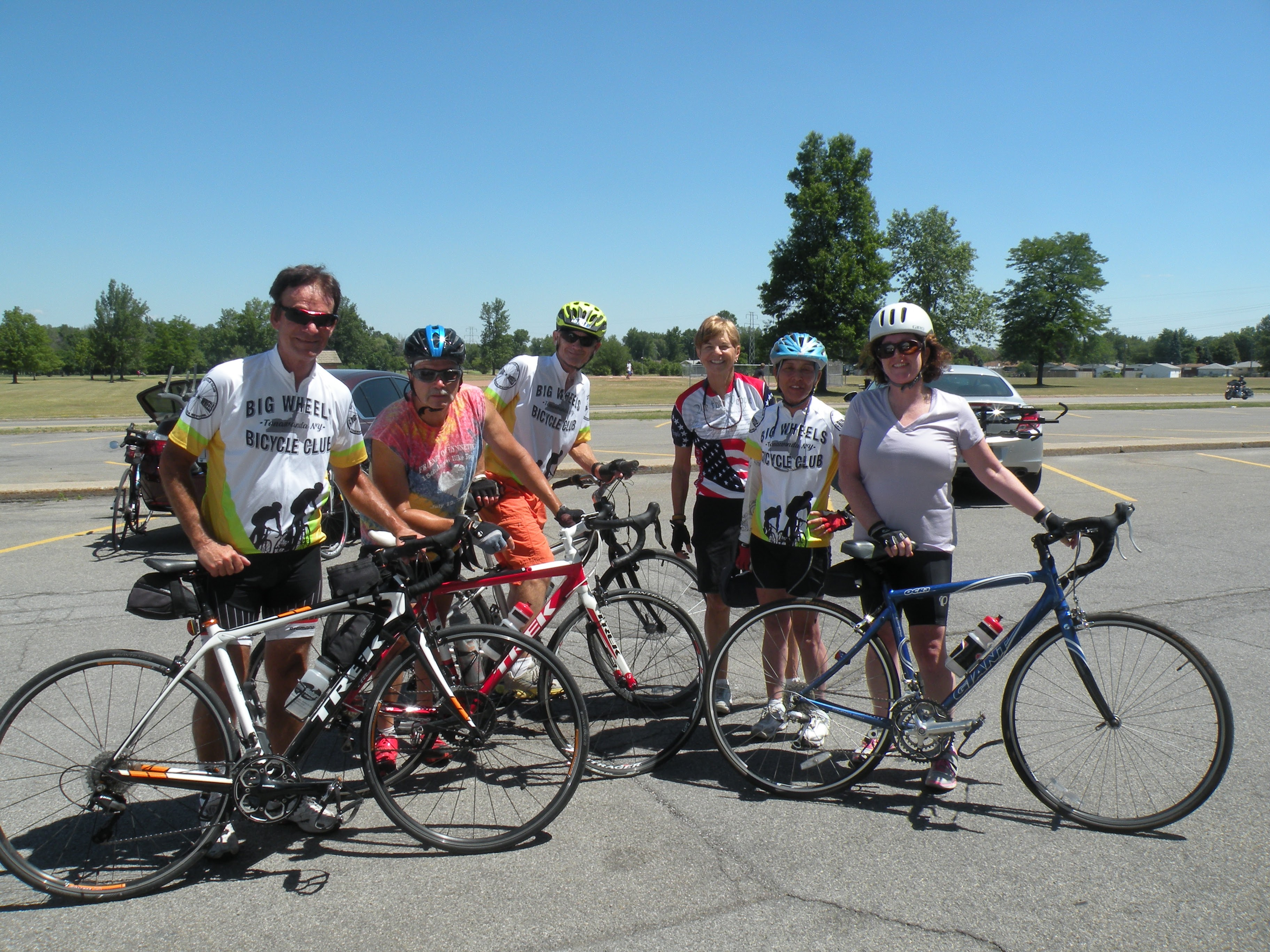 From left, Big Wheel Bicycle Club members Jack Muscarella, Don Simon, Tom Somerville,  Nancy Holzerland, Kathleen DiGiore and  Cathleen Waters stop for a photo during a club ride last year. The club will host its annual open house on Saturday. (Photo by Paula Manijak)