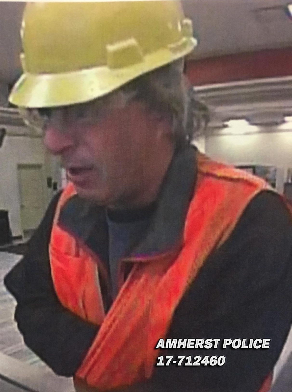 Police said a man dressed in a construction helmet and safety vest robbed a KeyBank branch  in Amherst Monday afternoon. (Amherst Police Department)